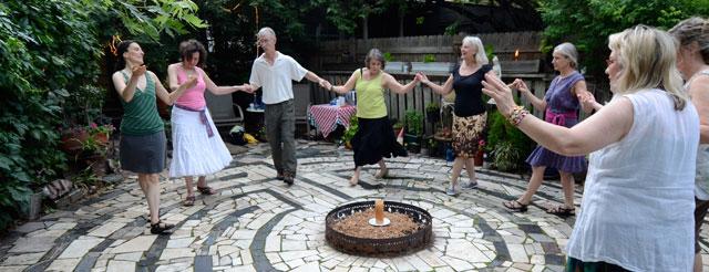 Dancers on stone labyrinth