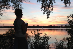 My friend Lucy (a.k.a. Lady of Lake Nokomis) filling up her soul on her nightly sunset walk.