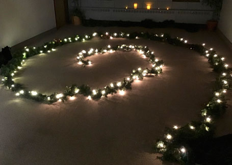 a spiral of lights on the ground